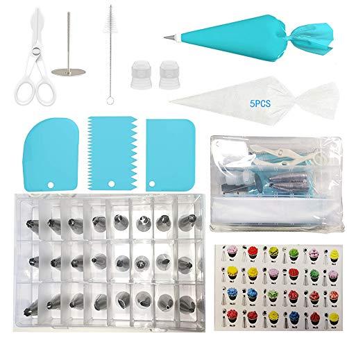 FYY Douilles Pâtisserie, 36 Pièces en Acier Inoxydable DIY Kits, avec 24 Douilles, Poches à Douille réutilisable,Clous à Fleur, Coupleurs, Brosse etc, DIY Kits pour Décoration de Gâteaux