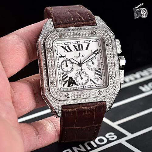HHBB Cronógrafo de lujo hombres cronómetro zafiro diamante caso oro rosa plata negro cuero deporte relojes marrón blanco