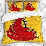Soefipok Conjuntos de Funda nórdica Big Red Spanish Redyellow Flamenco Dancer Girl Amarillo Abstracto Vintage Pintura hispana Vestido Dame Ropa de Cama de Microfibra con 2 Fundas de Almohada