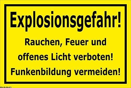 Melis Folienwerkstatt Schild Explosions-Gefahr - 45x30cm - Bohrlöcher - 3mm Hartschaum – 20 VAR S00060-055-C