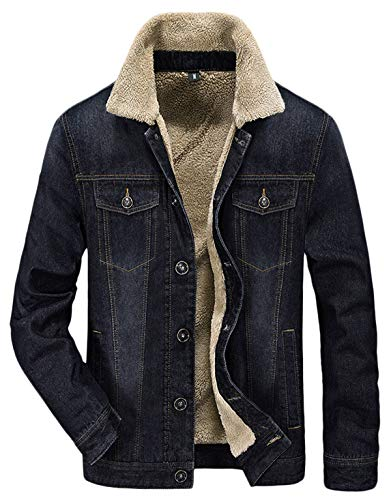 HOW'ON Men's Warm Fur Collar Sherpa Lined Denim Jacket Casual Outwear Black S