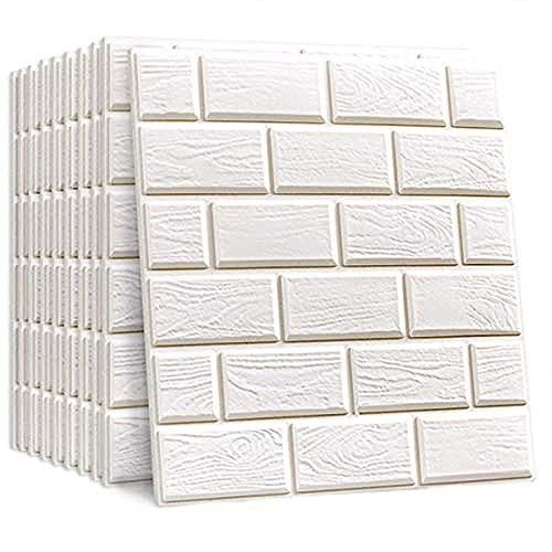 Pegatinas de la pared blanca del ladrillo de la imitación 3D Dormitorio 3D sala de estar de la sala de estar del baño Panel de pared decorativo 32 * 32 cm (20pcs)