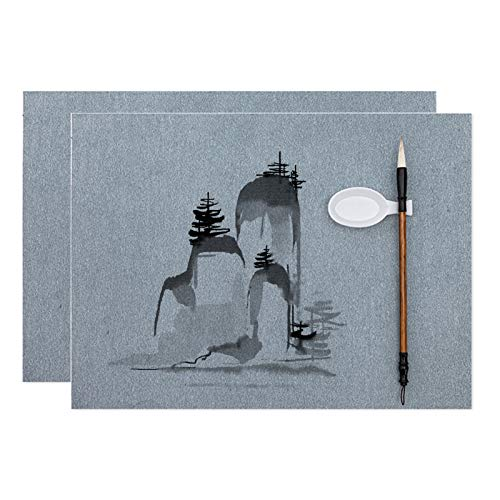 AOVOA 2 PCS Magic Water Drawing Paper with Brush and Water Dish, No Ink Calligraphy Sumi Drawing Practice Paper, Large Size Water Writing Cloth with No Grids (26.3X13.3', 2PCS)