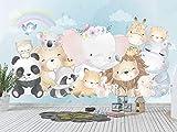 Oedim Fotomural Infantil Vinilo para Pared Animales Felices | Mural | Fotomural Infantil Vinilo Decorativo | 200 x 150 cm | Decoración comedores, Salones, Habitaciones