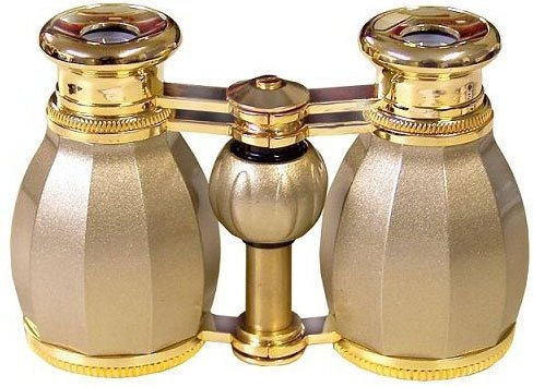 Lascala Optics Hamlet Opera Glasses, White Body, Golden Rings