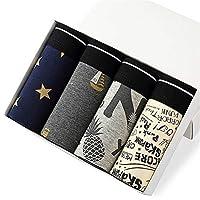ブリーフ 4本/ロットNanjiren男性ボクサーコットンブランドメンズセクシーなボクサーショーツ通気性の設定男性パンツトランク下着パンツマンを印刷 (Color : U, Size : XXXL)