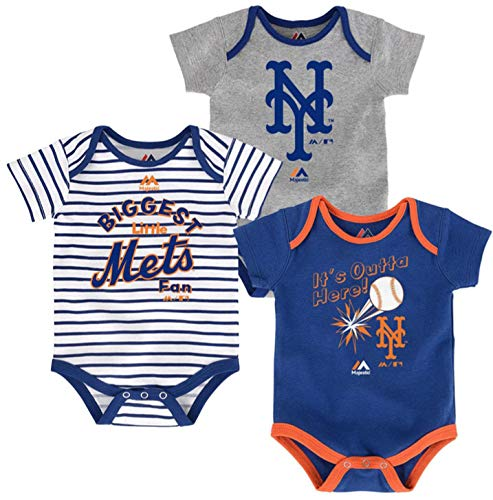MLB Newborn Infants'Home Run' 3 Piece Bodysuit Creeper Set (24 Months, New York Mets)