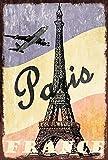 Cartel de metal con diseño retro de Paris France, para vacaciones, vuelo, torre Eiffel de 20 x 30 cm, decoración de pared