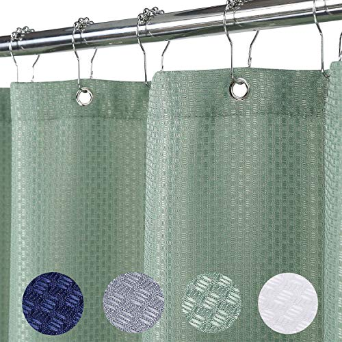 Haperlare Stall Fabric Shower Curtain, Waffle Weave Heavy Weight Polyester Shower Curtain with Metal Grommets for Bathroom Hotel Luxury Washable, 35' x 72', Sage