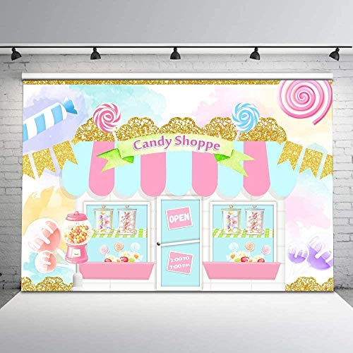 Pastel Candy Shoppe Telón de Fondo Sweet Candy Gold Banner Colorido Candy Photo Background 7x5ft Lollipop Candy Cumpleaños Telones de Fondo para niñas Cake Decoraciones de Mesa