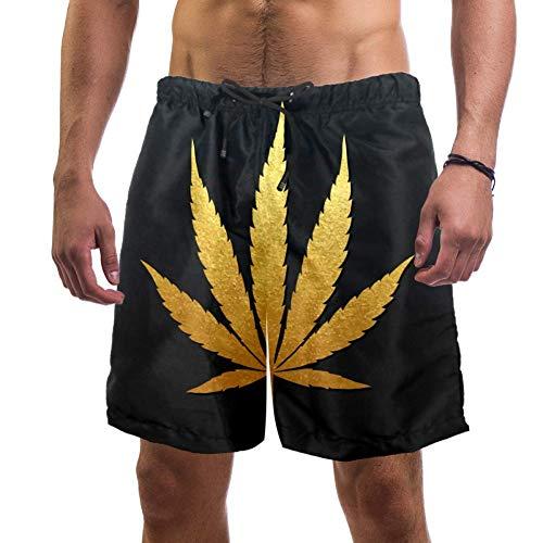 LORVIES - Bañador para hombre, diseño de hojas de marihuana dorada y hojas de cannabis para playa, secado rápido, talla L multicolor L