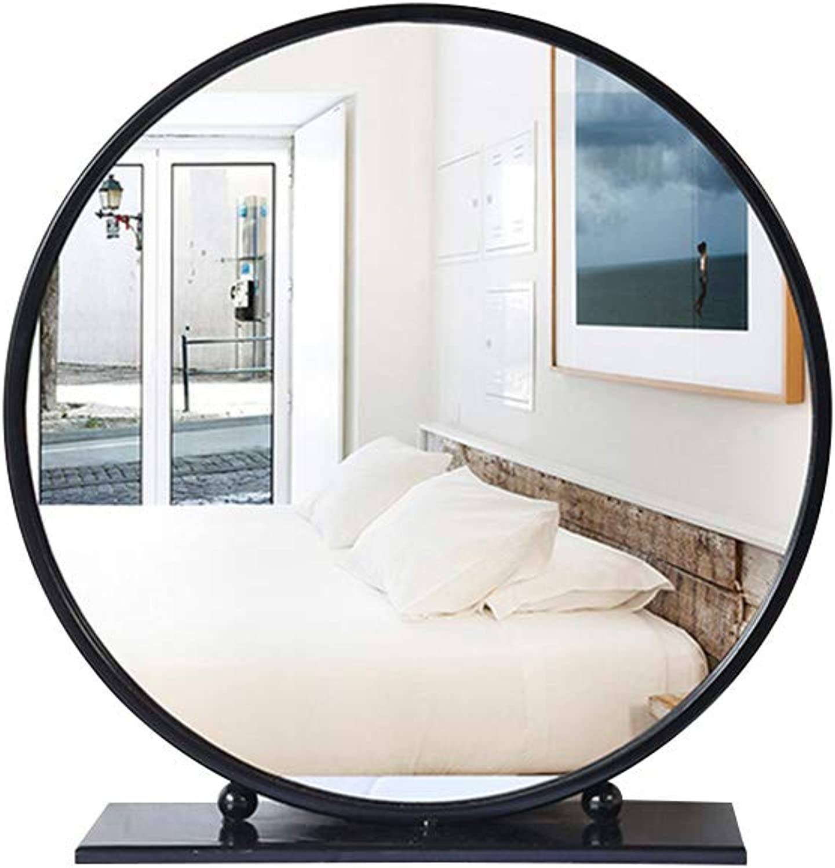 ZYear Modern Simple Desktop Mirror Vanity Metal Round Bathroom Mirror for Makeup Black Mirror on Stand (Size   D 40CM)