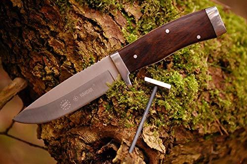 VIKING GEAR® Messer,Feuerstein im Griff - Einhandmesser 22,4cm - Gürtelmesser - Jagdmesser - Arbeitsmesser - Gartenarbeit - Survival - Freizeit - Prepper Knife - Etui,schwarz - Messer silber braun