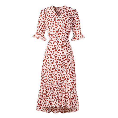 Kobay-Damen Mode Hautfreundlich Sommer V-Ausschnitt Holiday Print Kleid Damen Halbarm Party Strandkleid Geschenke für Frauen