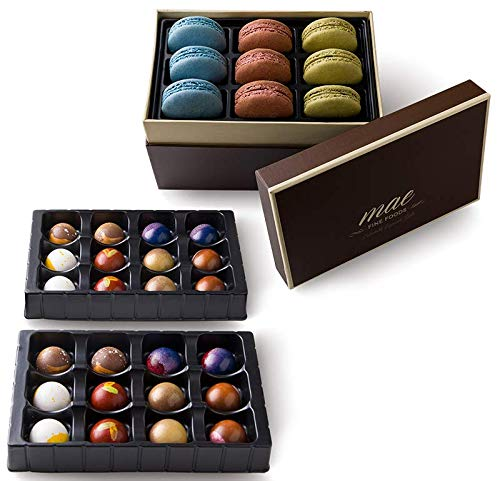 Gourmet Chocolate Bonbons and French Macarons Gift Set Large