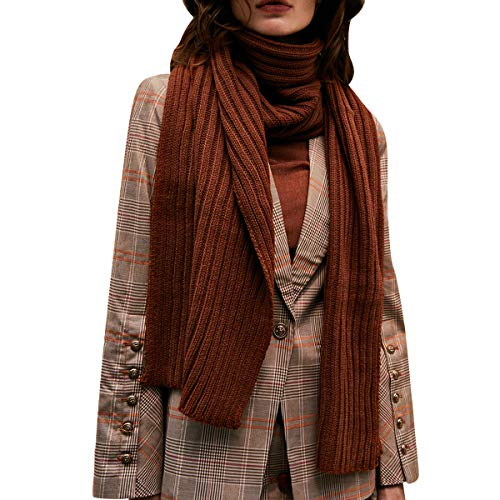 CACUSS Unisex Winter Long Thick Cable Knitted Scarf Soft Warm Scarves for Cold Weather (Caramel color) …