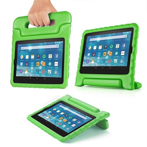 TNP Funda para Tableta Kindle Fire 7 (7a generación 2017), Funda Protectora Antideslizante, Anti-Impacto y caída para niños con Mango Convertible y Cubierta, Color Verde