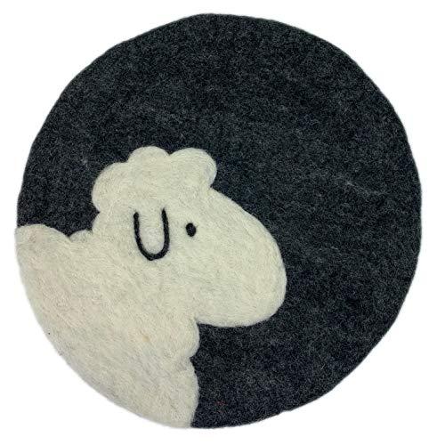 8-Natur® Rundes Stuhlkissen Schaf dunkelgrau aus 100% Merinofilz - Sitzkissen Filz rund 35x35 cm für Stühle, Bankkissen und als Auflage
