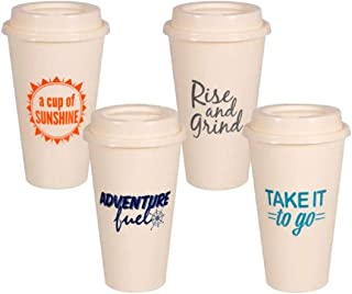 Take It To Go with Lids Reusable Plastic Travel Cups Mugs, Hot Cold Drinks, 8-ct Set