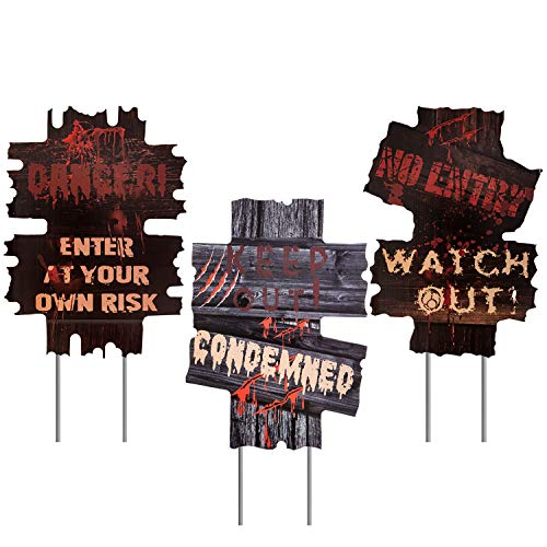 bestwishes 3 Pack Halloween Decorations Yard Signs Stakes Props Outdoor Decor Scary Zombie Vampire Graves Holiday Party…