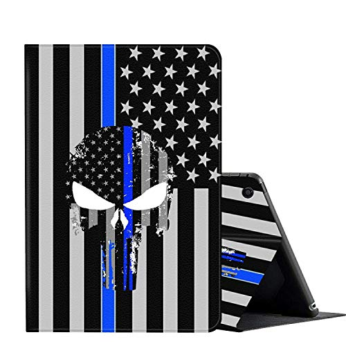 Fire HD 8 case (2018/2017/2016 Version,8th/7th/6th Generation),AMOOK Multi-Angle Viewing Anti Slide Folio Stand Smart Cover Cases for Amazon Kindle Fire HD 8 Tablet - Skull and American Flag Blue