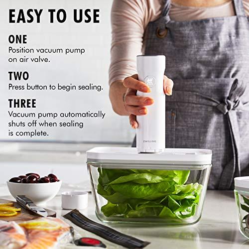 ZWILLING Fresh & Save Vacuum Sealer Machine Starter Set, Glass 6 piece BPA Free, Meal Prep or Sous Vide