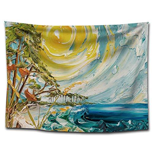 WERT Paisaje Pintura al óleo Tapiz Colgante de Pared decoración del hogar Junto al río fotografía de Fondo Tela Manta de Playa sofá Cubierta A5 150x130cm