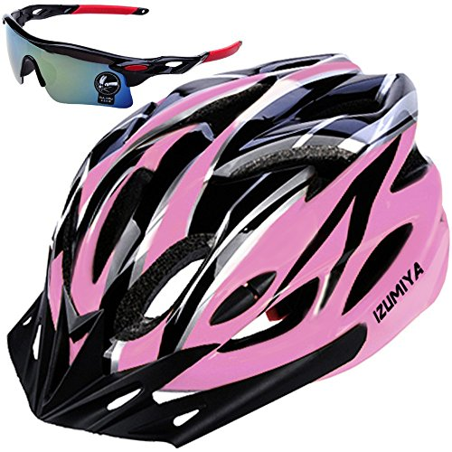IZUMIYA Bicycle Helmet, Road Bike, Cross Bike, Cycling, Adult, Ultra Lightweight, High Rigidity, Adult Sunglasses Set (Black x Pink)