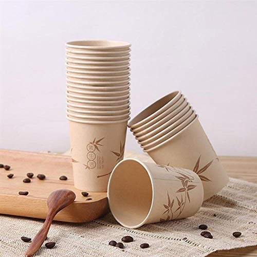 Tings 50Pcs Disposable Cup Decorative Bamboo Fiber Paper Cups Party Tableware For Birthday Wedding Festival