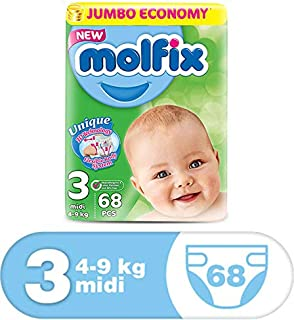 Molfix Anti Leakage Comfortable Midi Baby Diapers, 4-9 kg, 68 Count