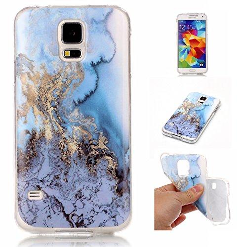 Docrax Samsung Galaxy S5 Handy Hülle Marmor Muster, HandyHülle Silikon Stoßfest Kratzfest Schutzhülle Bumper Case für Samsung Galaxy S5 - DOYHU41225#6