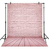 Allenjoy 6x8ft Soft Fabric Pink Brick Wall with Wood Floor Backdrop for Baby Girl Photography Photo Background Kids 1st Birthday Cake Smash Photoshoot Photo Booth Studio Props