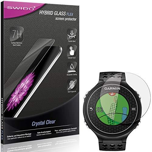 SWIDO Panzerglas Schutzfolie kompatibel mit Garmin Approach S6 Displayschutz-Folie und Glas = biegsames HYBRIDGLAS, splitterfrei, Anti-Fingerprint KLAR - HD-Clear