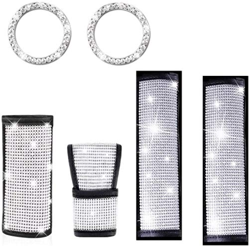 QINGJIE 6 Pieces Crystal Rhinestone Car Accessories, Include Shift Gear Cover, 2 Pieces Seat Strap Belt Shoulder Pads and 2 Pieces Ring Emblem Stickers for Women Girls Car Decoration (6 PCS)