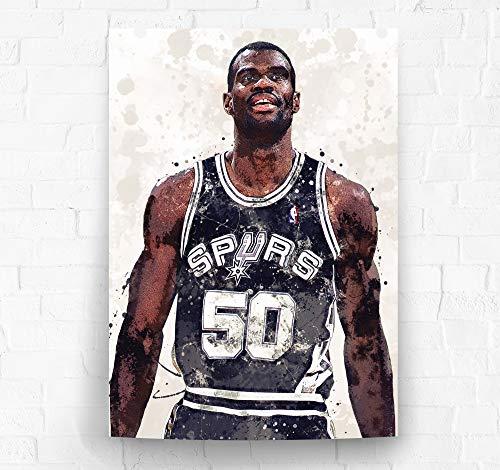 David Robinson San Antonio Spurs Poster/Canvas Print - Basketball Artwork - Kids Room Wall Decor - Man Cave - Sports Decor - Birthday Gift Idea (Premium Poster, 18 x 24 Inches) image