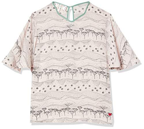 Dear Drew by Drew Barrymore Women's Joshua Tree Silky Short Sleeve Blouse, Western Dream Pearl, Medium