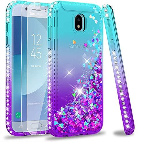 LeYi Compatible with Funda Samsung Galaxy J5 2017 Silicona Purpurina Carcasa con [2-Unidades Cristal Vidrio Templado],Transparente Cristal Bumper Telefono Case Cover para Movil J5 2017 ZX Azul