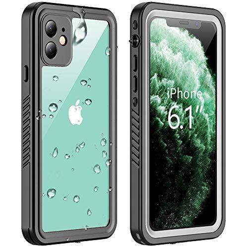Funda impermeable para iPhone de 11 a 6.1 pulgadas, a prueba de golpes IP68 sellado de cuerpo completo protector de pantalla para actividades subacuáticas y acuáticas (transparente+negro)