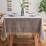 Mokani Washable Cotton Linen Solid Embroidery Checkered Design Tablecloth, Square Table Cover Great for Kitchen Dinning Tabletop Buffet Decoration (55 x 55 Inch, Gray)