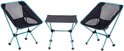 AOKASIX 2 chaises + 1 Bureau, Chaise de Camping Fauteuil Pliable Sac de Transport Dos en Mesh, Bleu