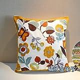 Baozengry Handgemachter Stickerei Blume Kissen Büro Auto Bett Sofa Rückenpolster Rückenlehne, 45 X 45 Cm (Mit Core), Orange Käfer
