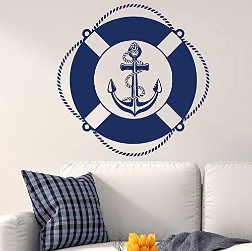 Barco náutico Barco de mar Vela Logotipo de ancla Estilo oceánico Navegación Vinilo Etiqueta de la pared Calcomanía del coche Niños Guardería Dormitorio Oficina Estudio Decoración para el ho