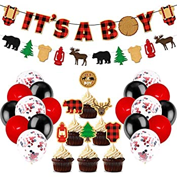 Lumberjack Baby Shower Party Decorations It s A Boy Banner Buffalo Plaid Cupcake Toppers Black Red Latex Balloons For Woodland Hunting Rustic Christmas Camping Themed Baby Shower Gender Reveal Party Supplies