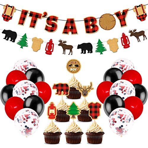 Lumberjack Baby Shower Party Decorations, Its A Boy Banner Buffalo Plaid Cupcake Toppers Black Red Latex Balloons For Woodland Hunting Rustic Christmas Camping Themed Baby Shower Gender Reveal Party