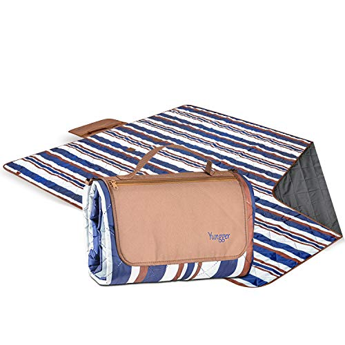 YUNGGER Picnic and Beach Blanket with Pouch-Machine Washable Extra Large-Protects Your Family and Toddler from Wet Grass or Sand at The Park, Outside Concert, Playground, at The Kids Sport Practice