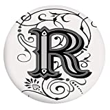 Mantel ajustable de poliéster con bordes elásticos, con tipografía antigua R barroca con diseño aristocrático inglés, para mesas redondas de 49 a 55 pulgadas, para comedor, cocina, fiesta, color negro