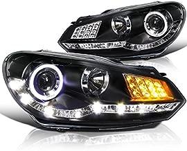Spec-D Tuning LHP-GLF10JM-8V2-TM R8 Style Led Signal Halo Black Projector Headlights For Vw Golf Mk6 Gti