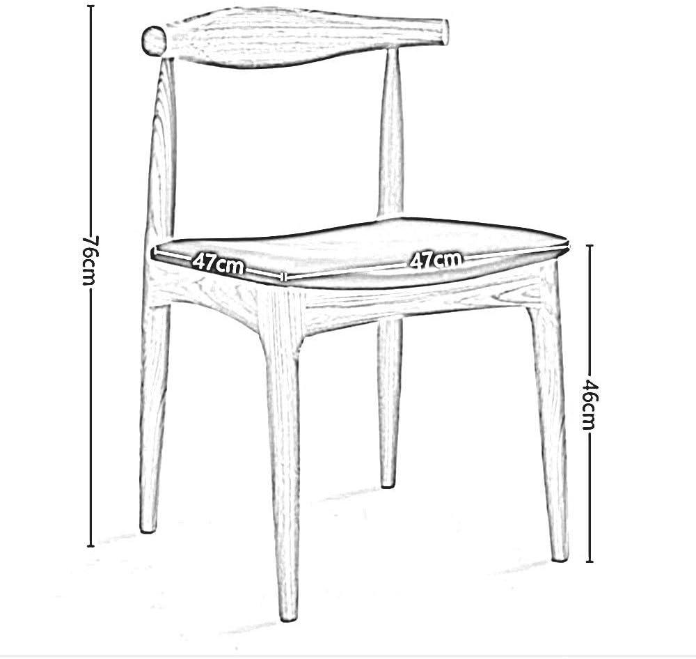 WHOJA Chaise de salle à manger Dossier d'arc Grande surface d'assise Cadre en bois massif Forte capacité de charge 9 styles 47x47x76cm Chaises d'angle (Color : A) B