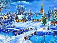 ダイヤモンドの絵画 フルドリルスクエアダイヤモンド絵画風景ダイヤモンド刺繡冬うさぎフクロウラインストーンの写真クリスマスの装飾