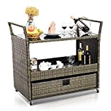 Giantex Rolling Wicker Cart Rattan Bar Cart Outdoor Serving Cart Wicker Trolley Portable Kitchen Trolley Cart W/Shelves and Big Drawer for Dining Room, Restaurant, Party, Poolside Use